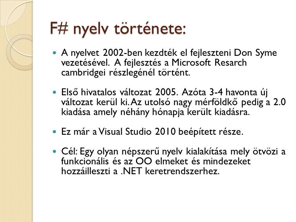 F# nyelv története: