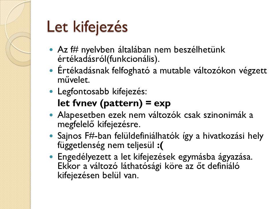 Let kifejezés let fvnev (pattern) = exp