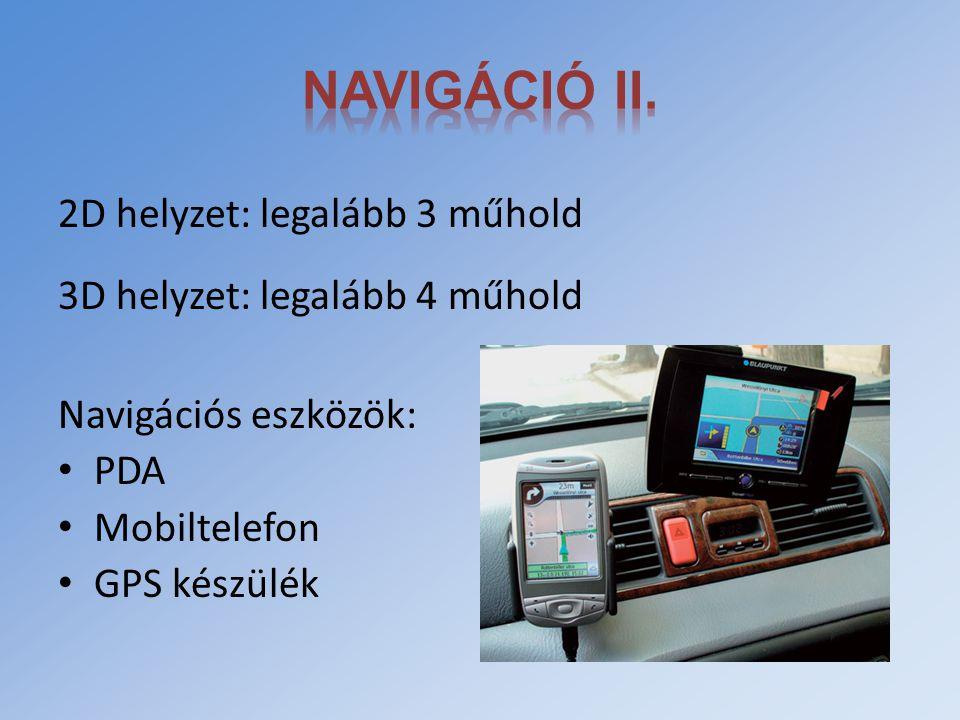 Navigáció II. 2D helyzet: legalább 3 műhold