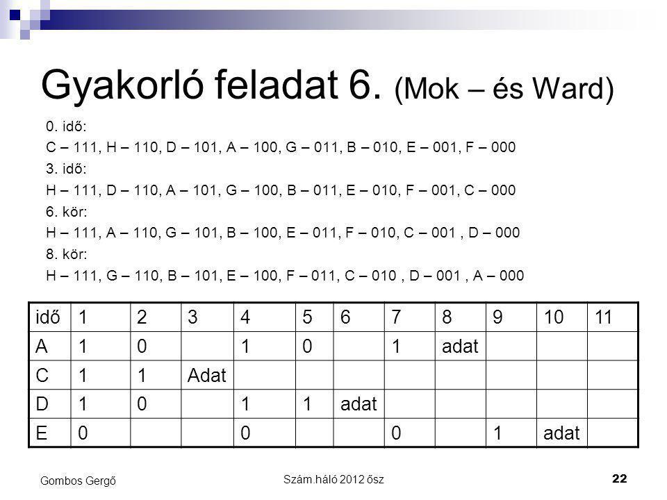 Gyakorló feladat 6. (Mok – és Ward)