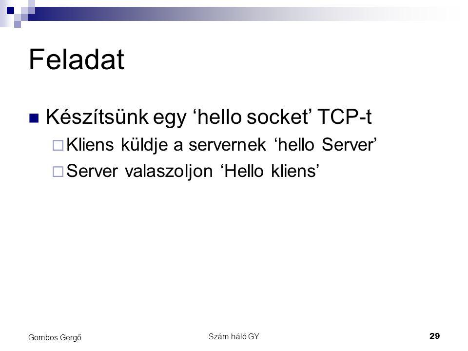 Feladat Készítsünk egy 'hello socket' TCP-t