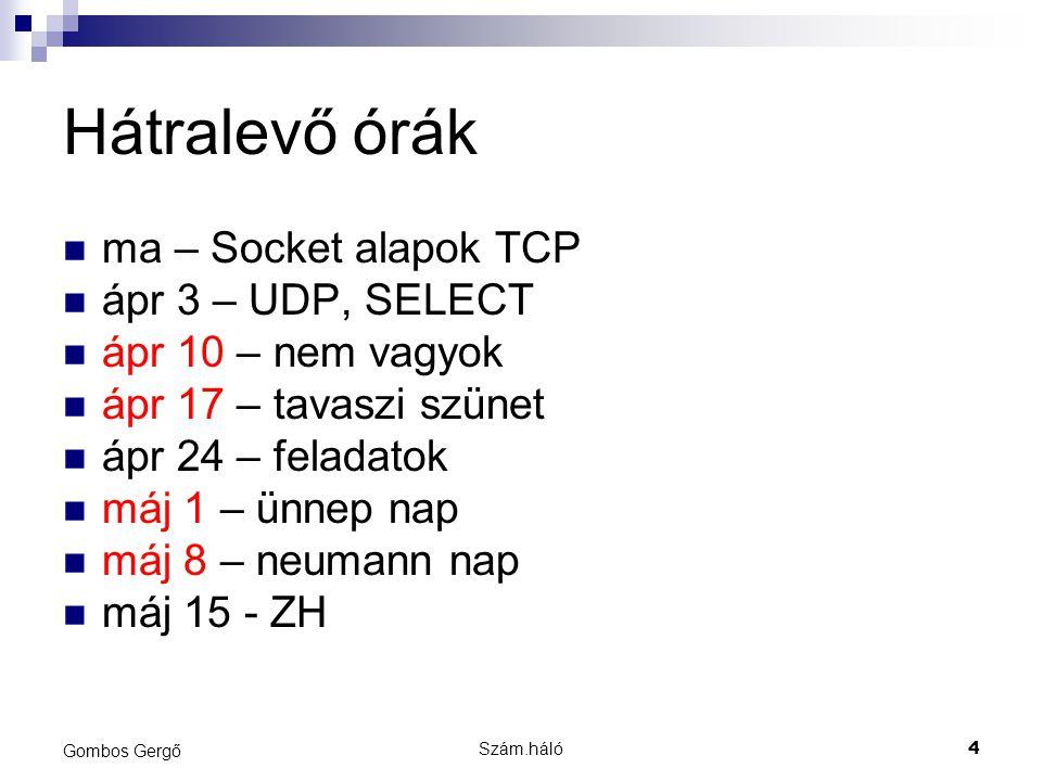 Hátralevő órák ma – Socket alapok TCP ápr 3 – UDP, SELECT