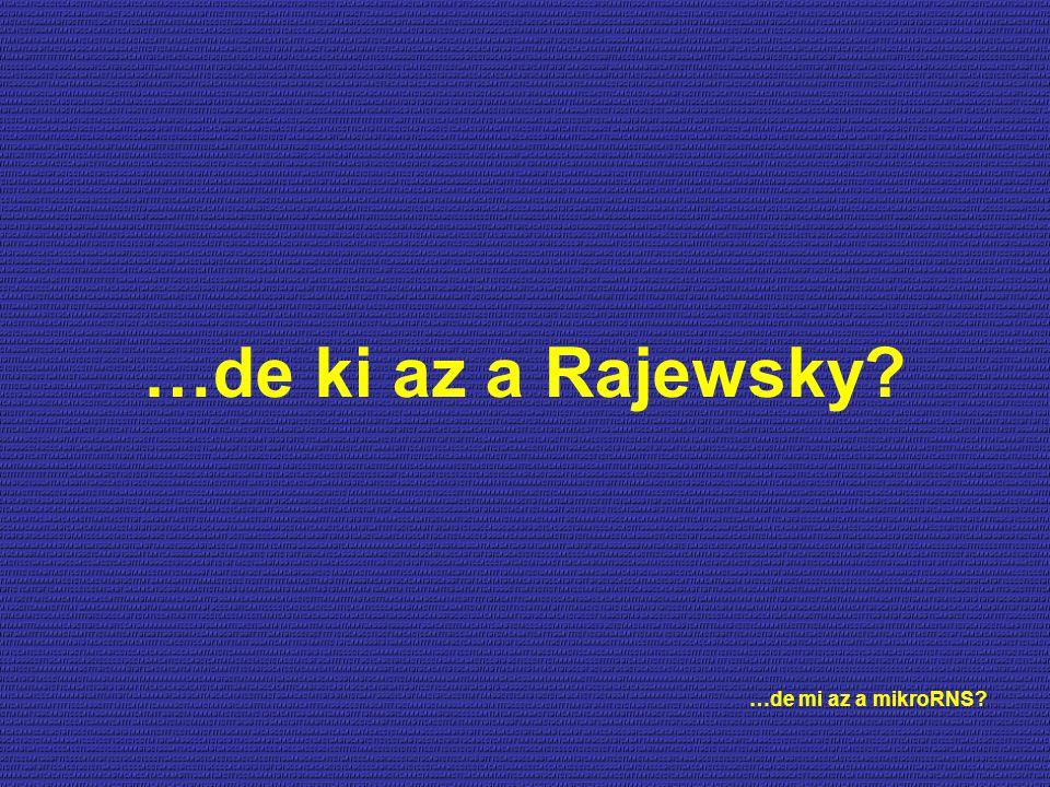 …de ki az a Rajewsky …de mi az a mikroRNS