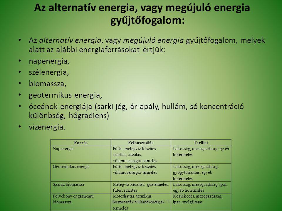 Az alternatív energia, vagy megújuló energia gyűjtőfogalom: