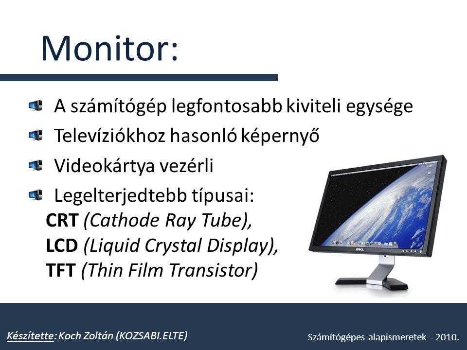 Monitor: A számítógép legfontosabb kiviteli egysége