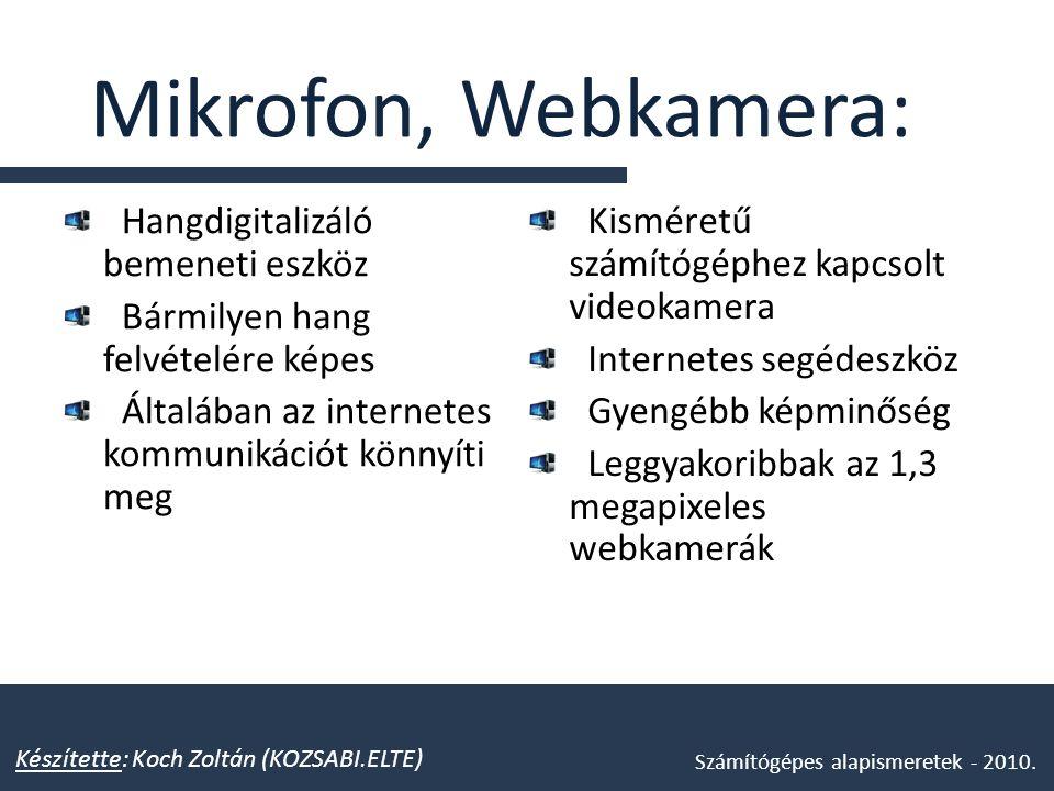 Mikrofon, Webkamera: Hangdigitalizáló bemeneti eszköz