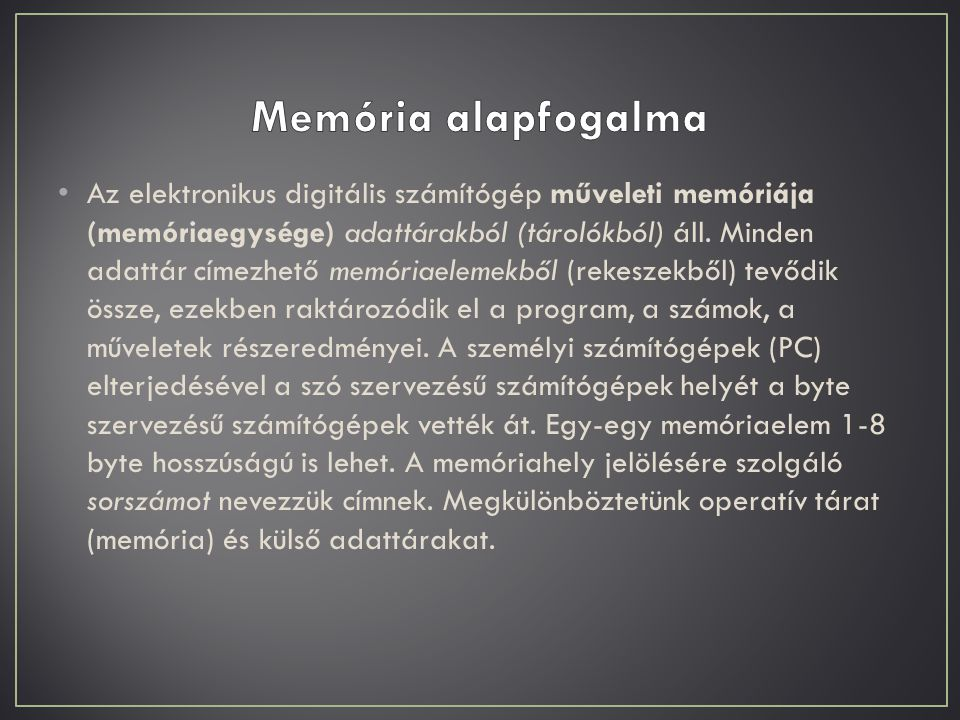 Memória alapfogalma