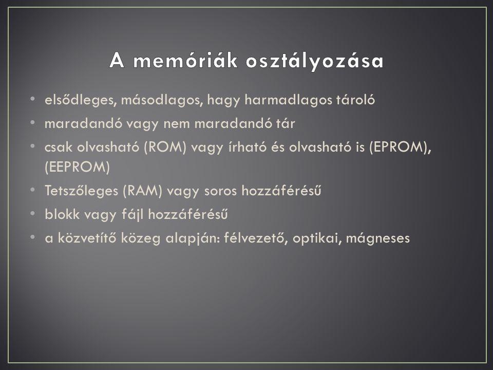 A memóriák osztályozása