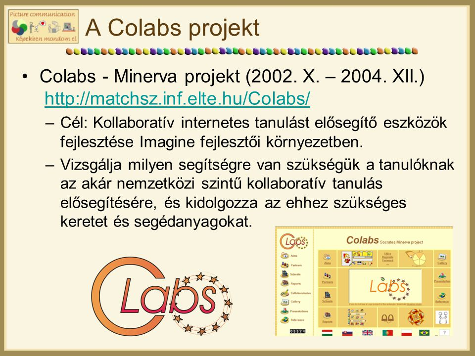 A Colabs projekt Colabs - Minerva projekt (2002. X. – 2004. XII.) http://matchsz.inf.elte.hu/Colabs/