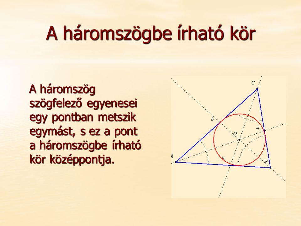 A háromszögbe írható kör