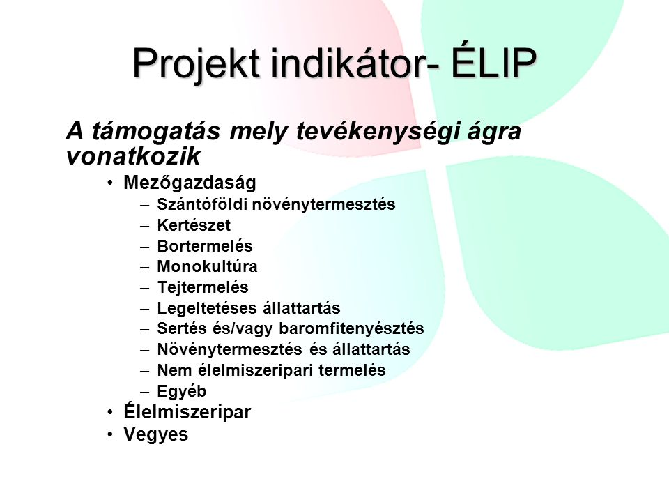 Projekt indikátor- ÉLIP