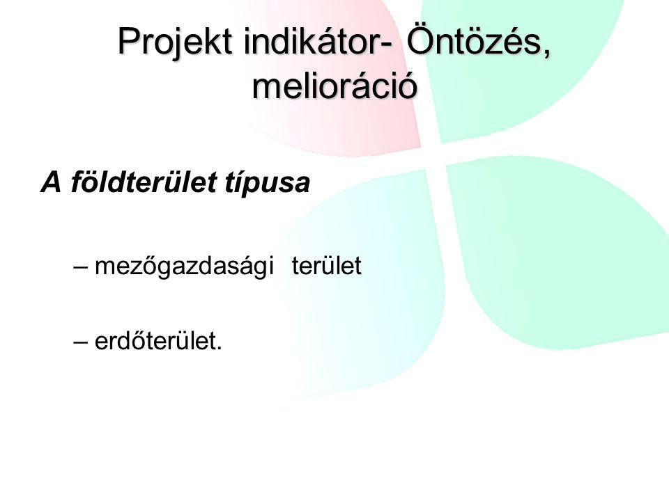 Projekt indikátor- Öntözés, melioráció