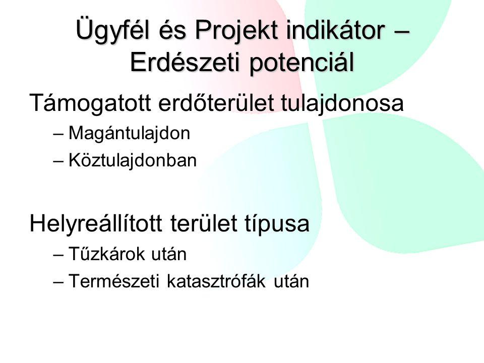 Ügyfél és Projekt indikátor – Erdészeti potenciál
