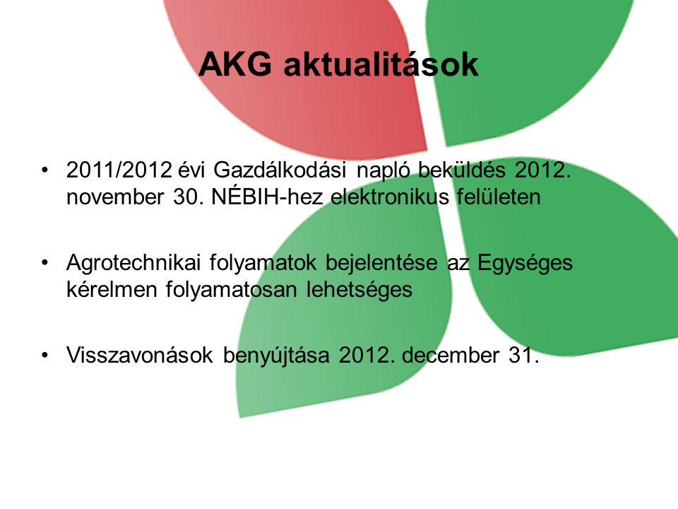 AKG aktualitások 2011/2012 évi Gazdálkodási napló beküldés 2012. november 30. NÉBIH-hez elektronikus felületen.