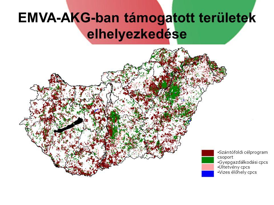 EMVA-AKG-ban támogatott területek elhelyezkedése