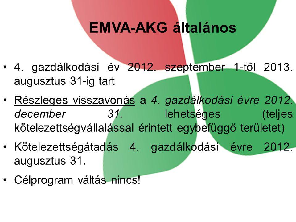 EMVA-AKG általános 4. gazdálkodási év 2012. szeptember 1-től 2013. augusztus 31-ig tart.