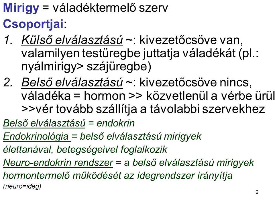 Mirigy = váladéktermelő szerv Csoportjai: