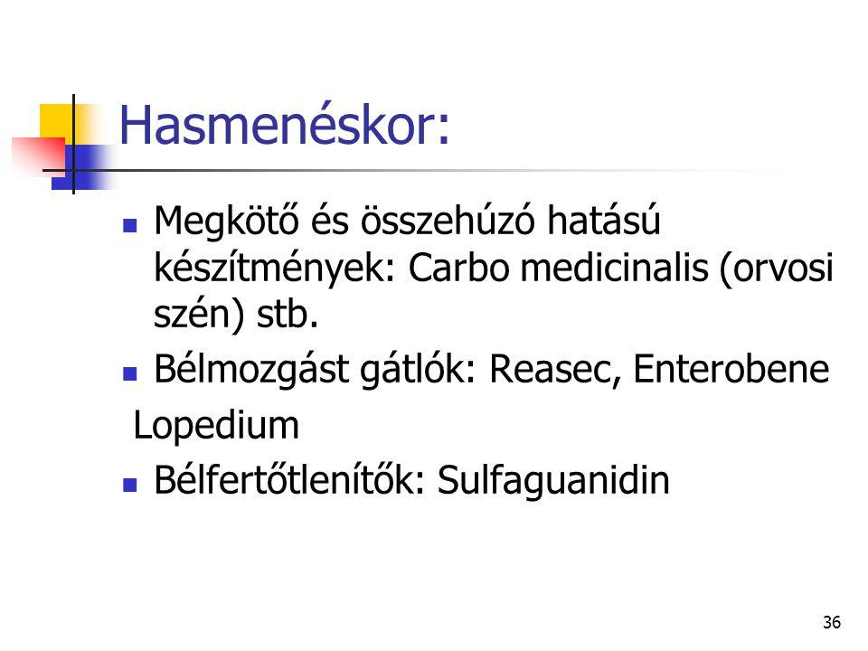 Hasmenéskor: Megkötő és összehúzó hatású készítmények: Carbo medicinalis (orvosi szén) stb. Bélmozgást gátlók: Reasec, Enterobene.