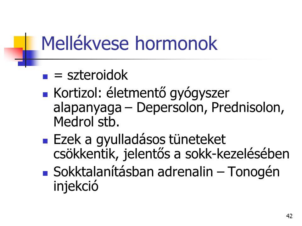 Mellékvese hormonok = szteroidok