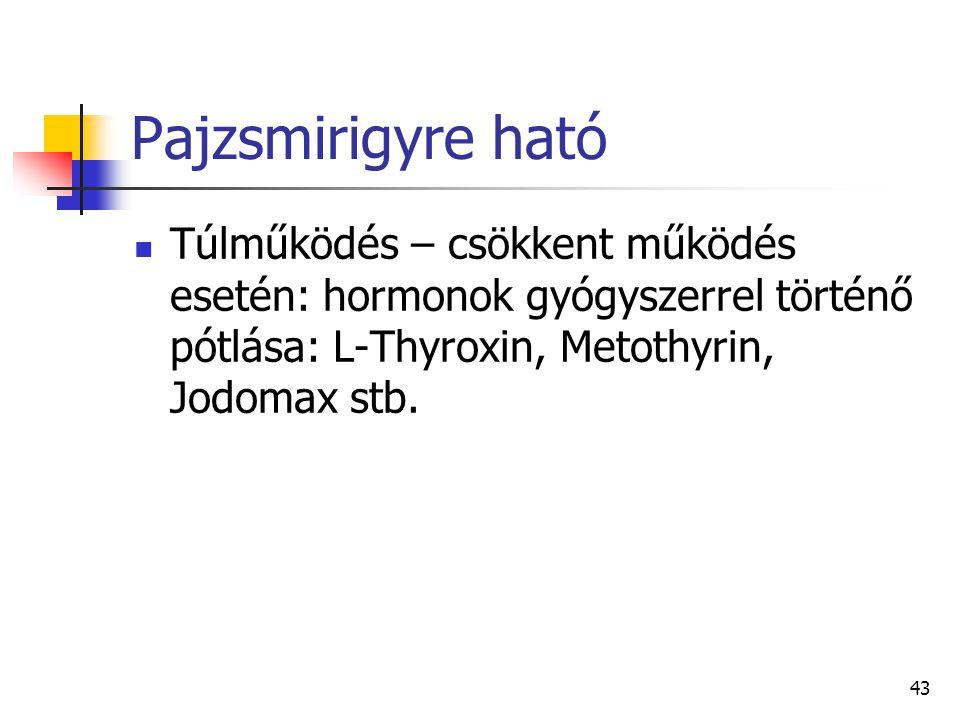 Pajzsmirigyre ható Túlműködés – csökkent működés esetén: hormonok gyógyszerrel történő pótlása: L-Thyroxin, Metothyrin, Jodomax stb.