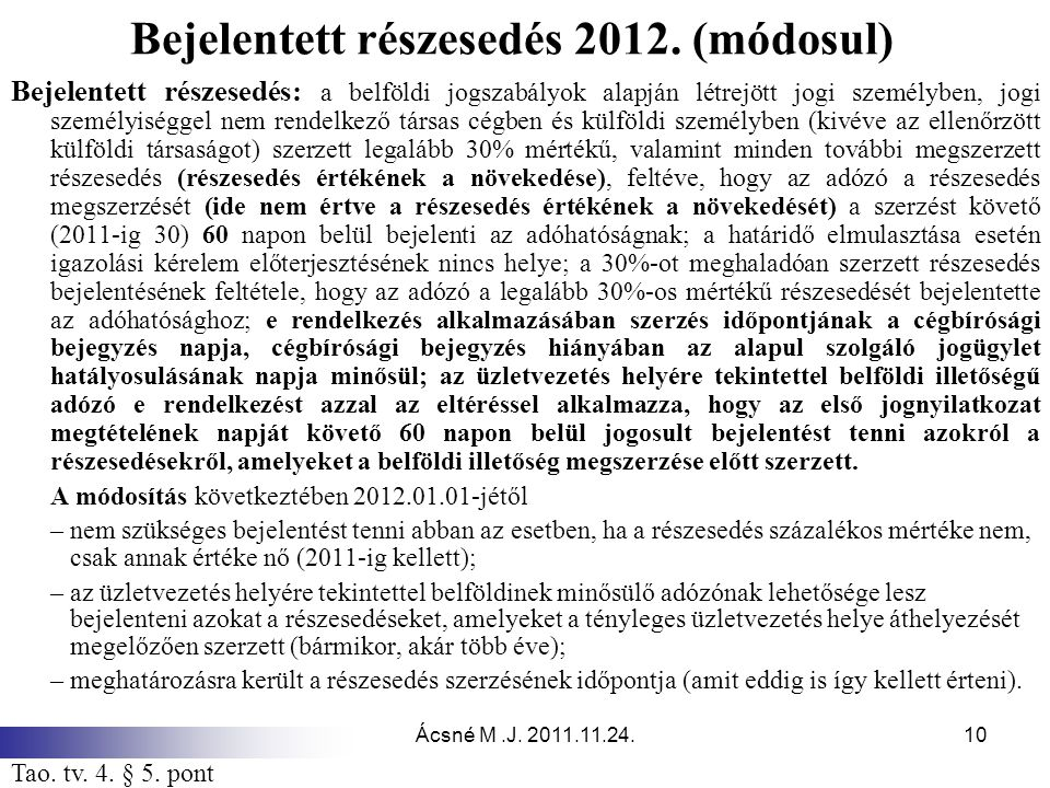 Bejelentett részesedés 2012. (módosul)