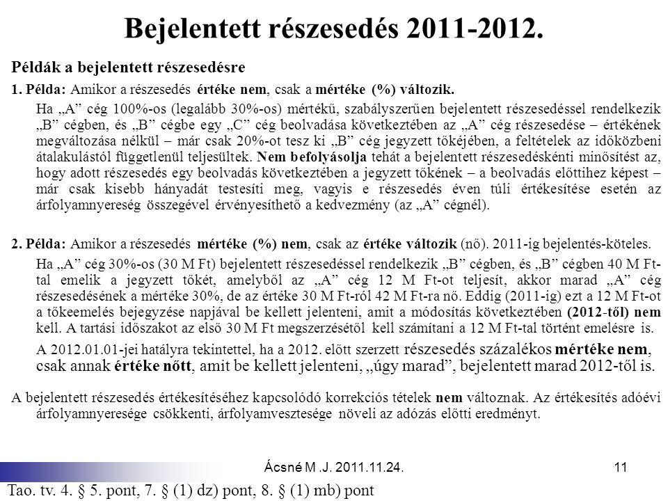 Bejelentett részesedés 2011-2012.