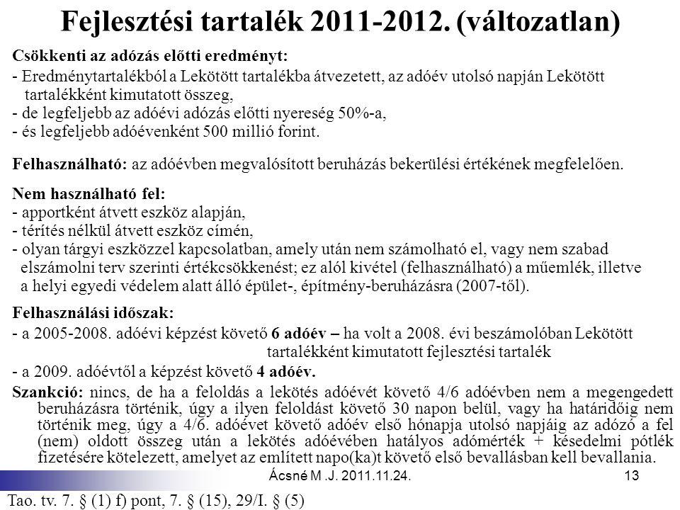 Fejlesztési tartalék 2011-2012. (változatlan)