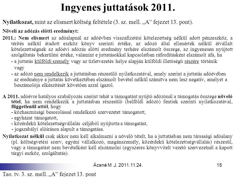 """Ingyenes juttatások 2011. Nyilatkozat, mint az elismert költség feltétele (3. sz. mell. """"A fejezet 13. pont)."""