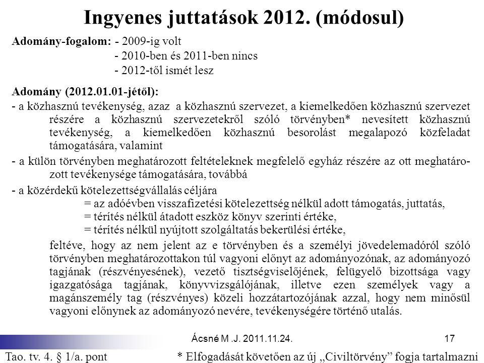 Ingyenes juttatások 2012. (módosul)