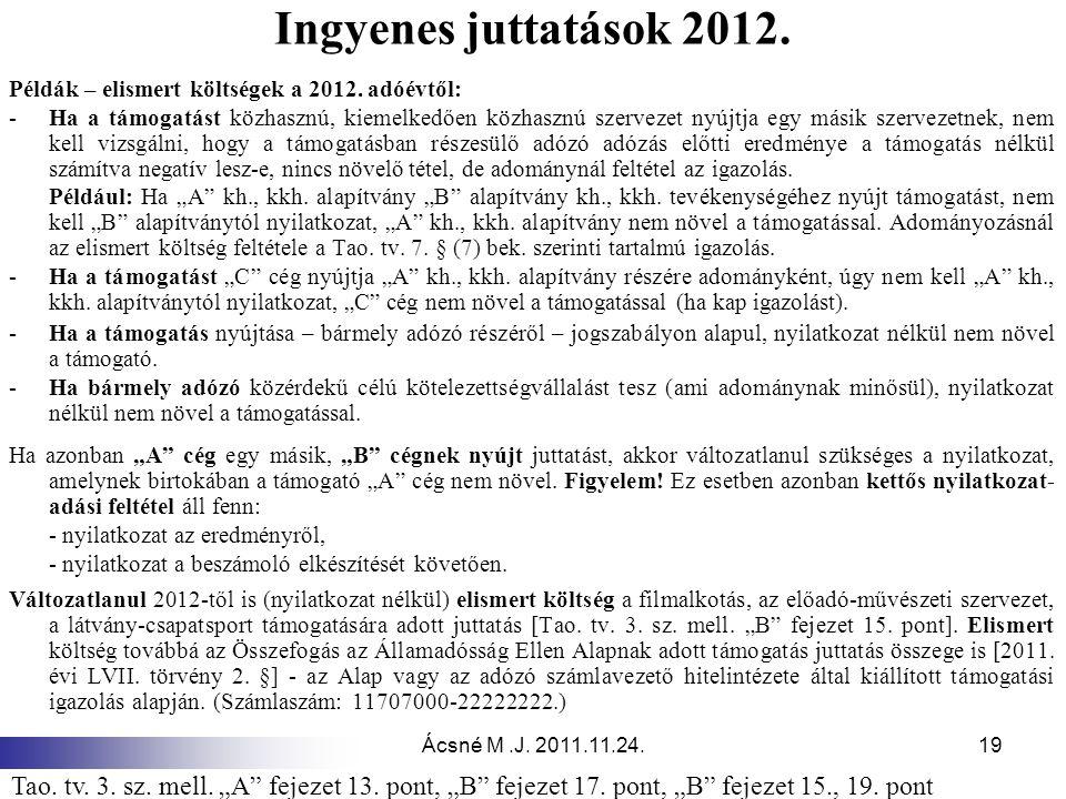 Ingyenes juttatások 2012. Példák – elismert költségek a 2012. adóévtől: