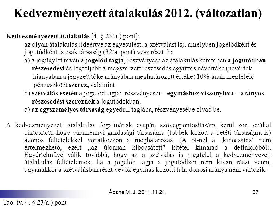 Kedvezményezett átalakulás 2012. (változatlan)