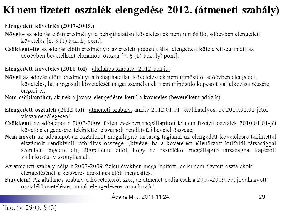 Ki nem fizetett osztalék elengedése 2012. (átmeneti szabály)