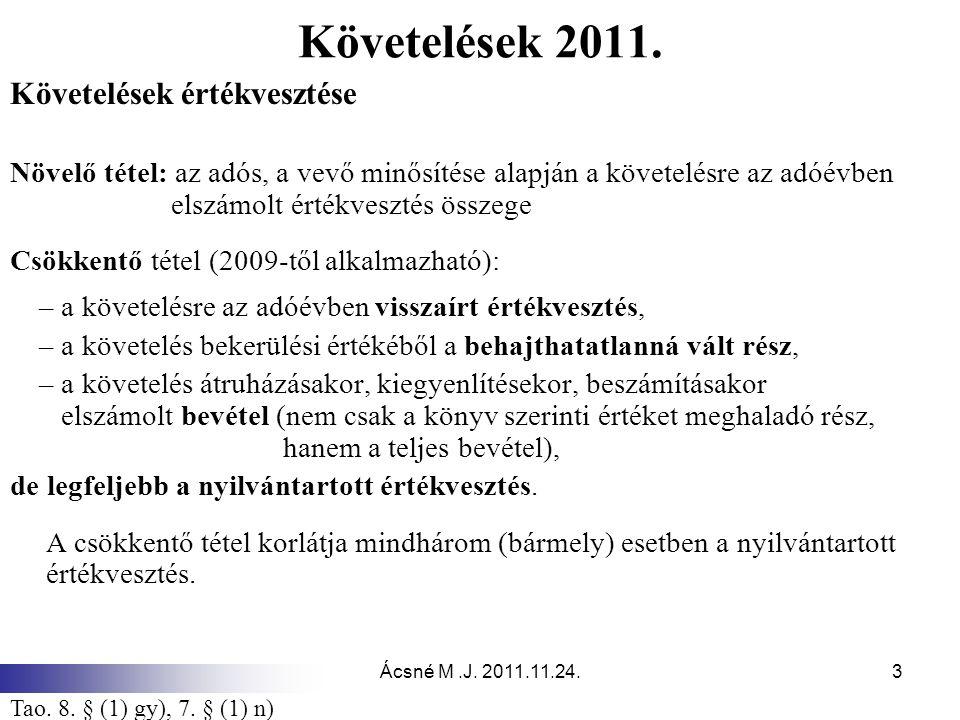 Követelések 2011. Követelések értékvesztése