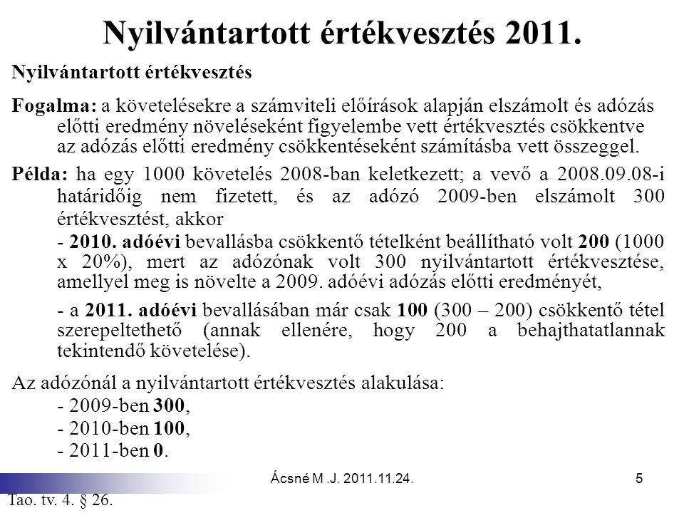 Nyilvántartott értékvesztés 2011.