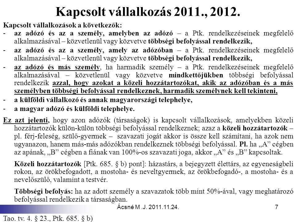 Kapcsolt vállalkozás 2011., 2012. Kapcsolt vállalkozások a következők: