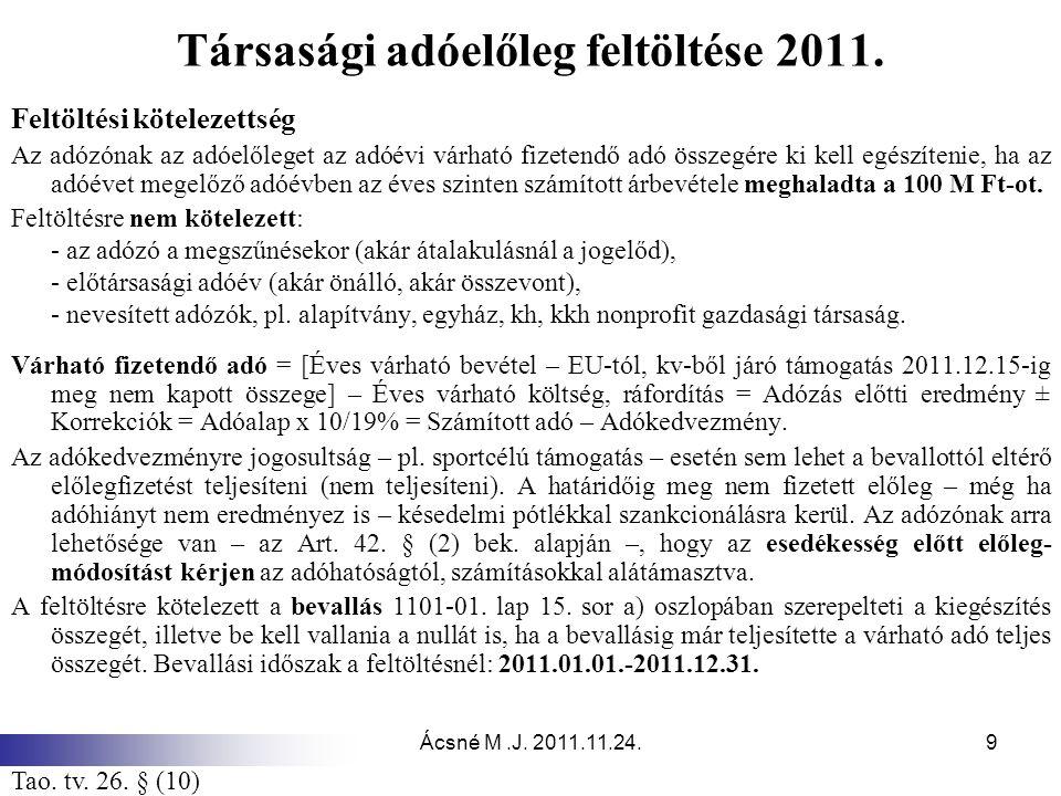 Társasági adóelőleg feltöltése 2011.