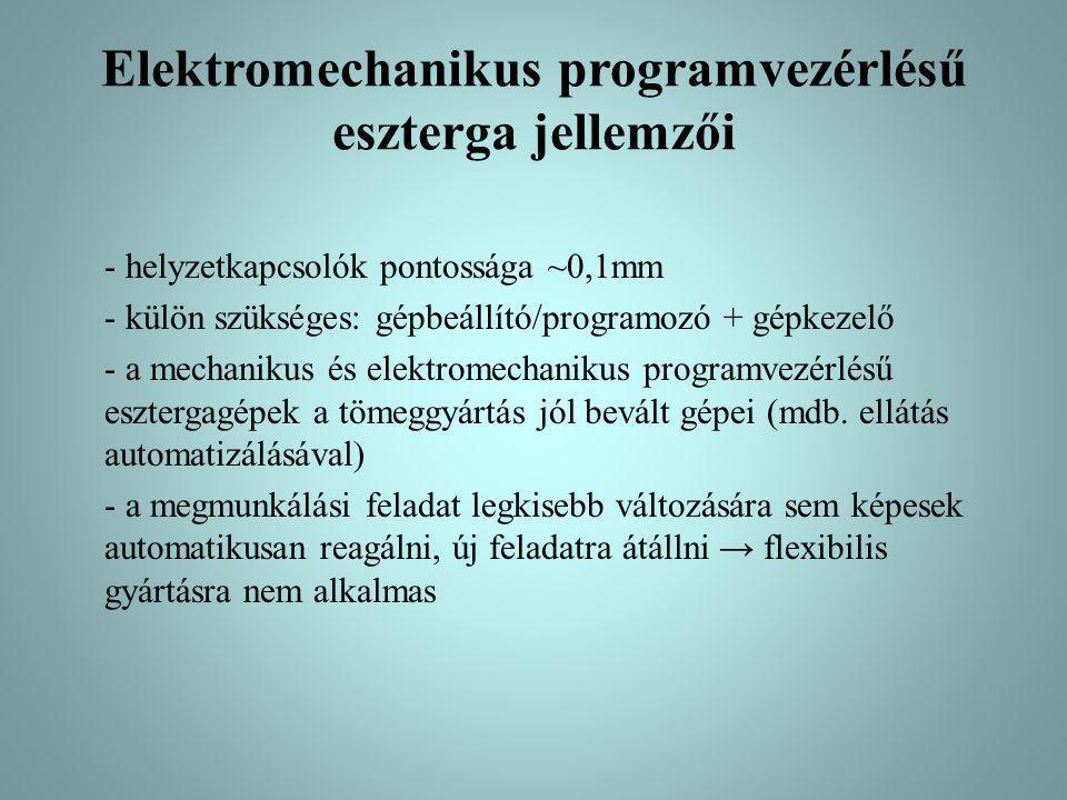 Elektromechanikus programvezérlésű eszterga jellemzői