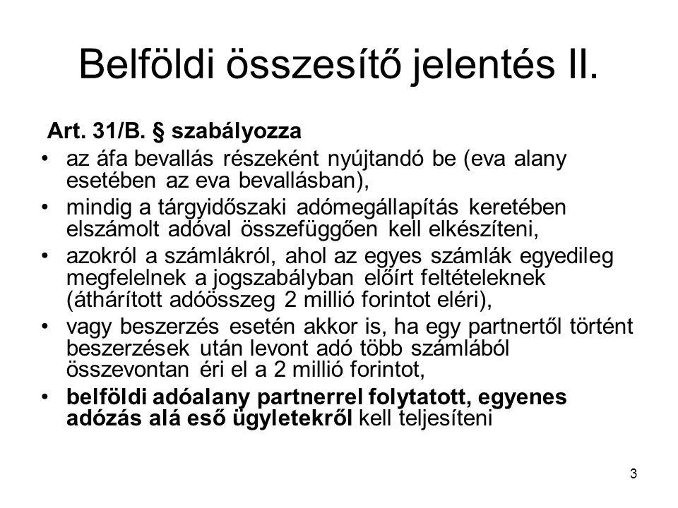 Belföldi összesítő jelentés II.