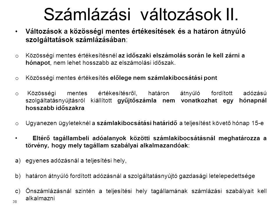 Számlázási változások II.