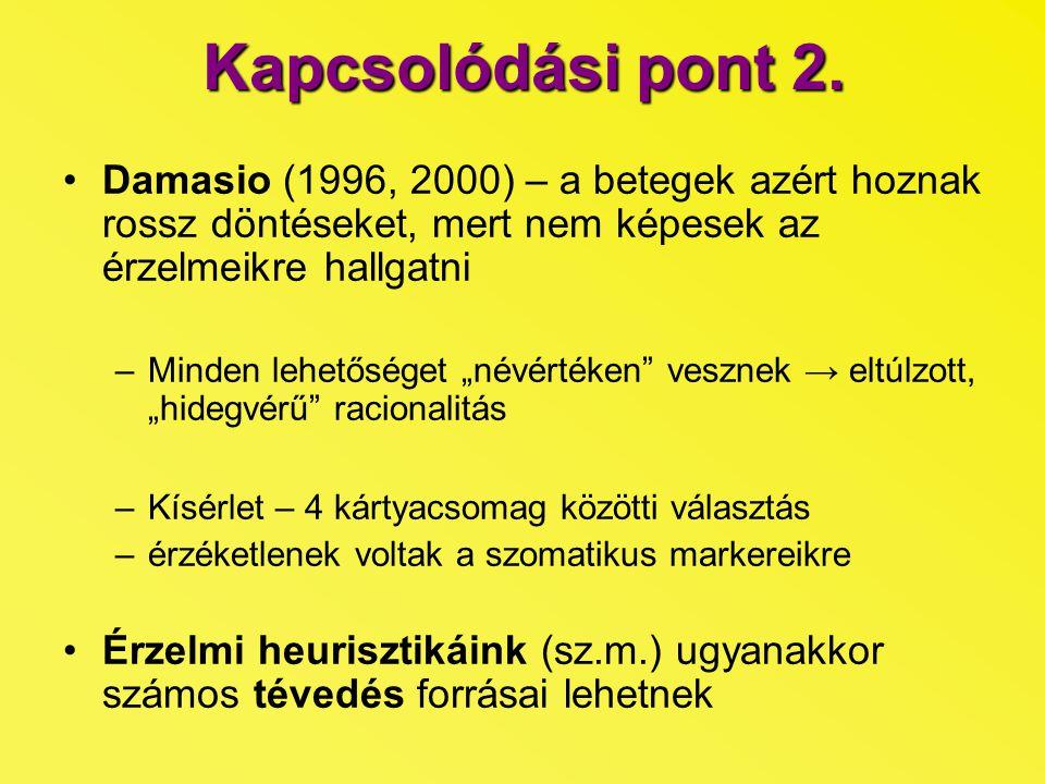 Kapcsolódási pont 2. Damasio (1996, 2000) – a betegek azért hoznak rossz döntéseket, mert nem képesek az érzelmeikre hallgatni.