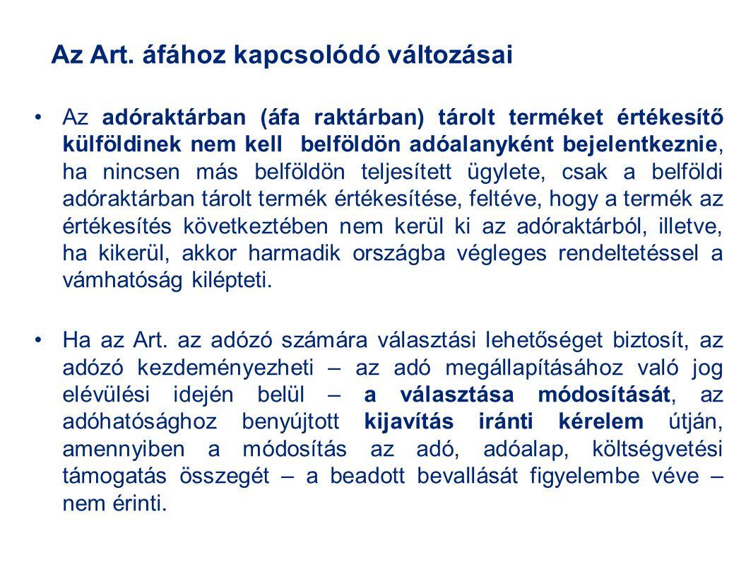 Az Art. áfához kapcsolódó változásai