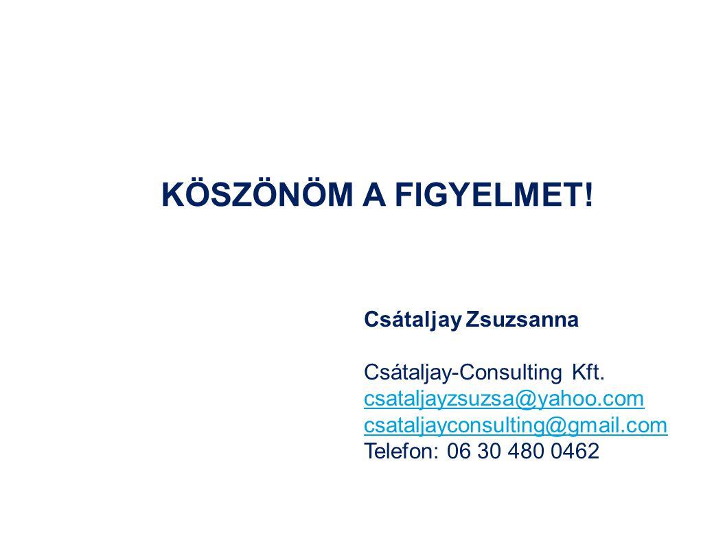 KÖSZÖNÖM A FIGYELMET! Csátaljay Zsuzsanna Csátaljay-Consulting Kft.