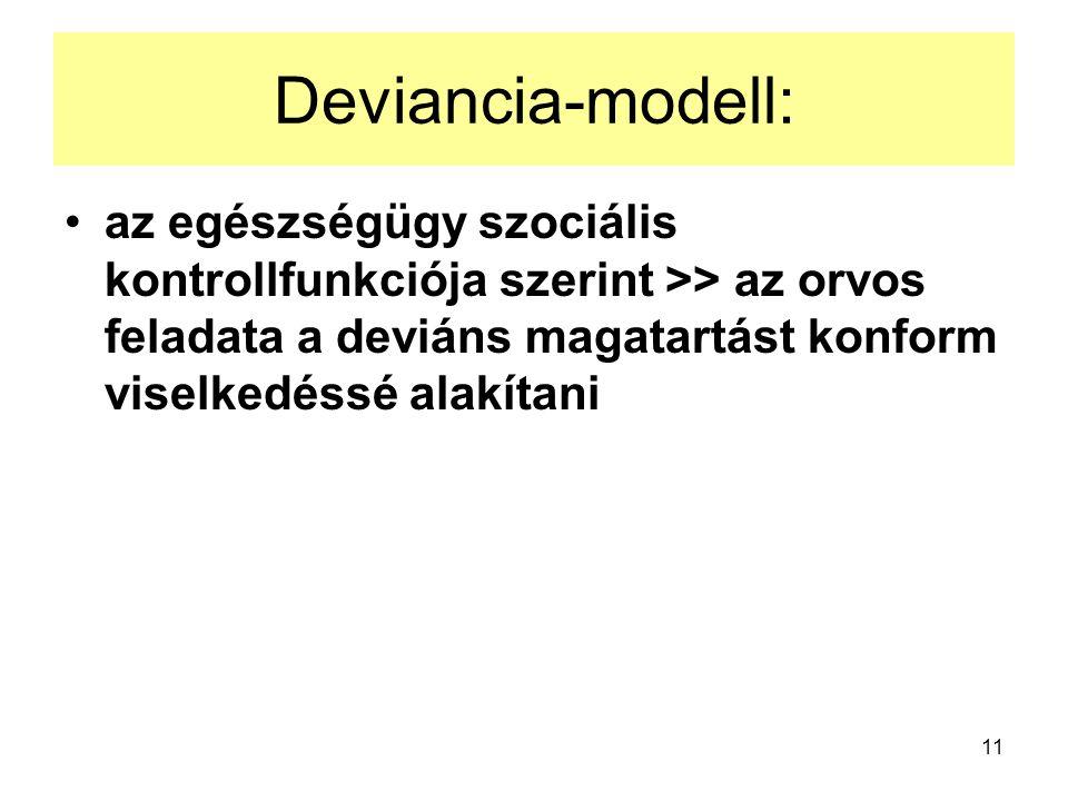 Deviancia-modell: az egészségügy szociális kontrollfunkciója szerint >> az orvos feladata a deviáns magatartást konform viselkedéssé alakítani.