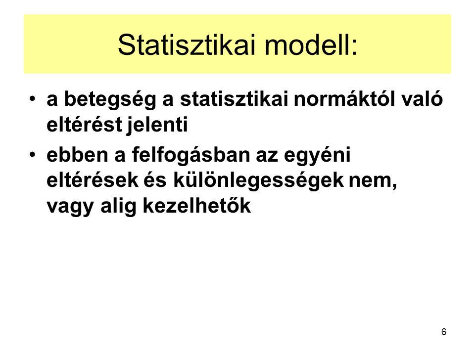 Statisztikai modell: a betegség a statisztikai normáktól való eltérést jelenti.