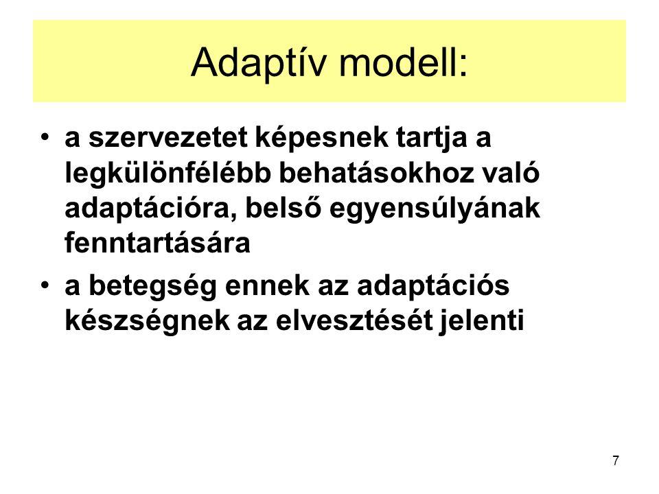 Adaptív modell: a szervezetet képesnek tartja a legkülönfélébb behatásokhoz való adaptációra, belső egyensúlyának fenntartására.