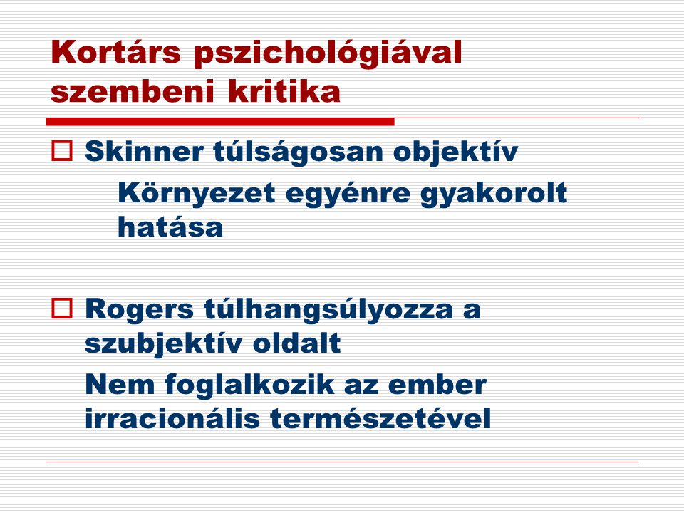 Kortárs pszichológiával szembeni kritika