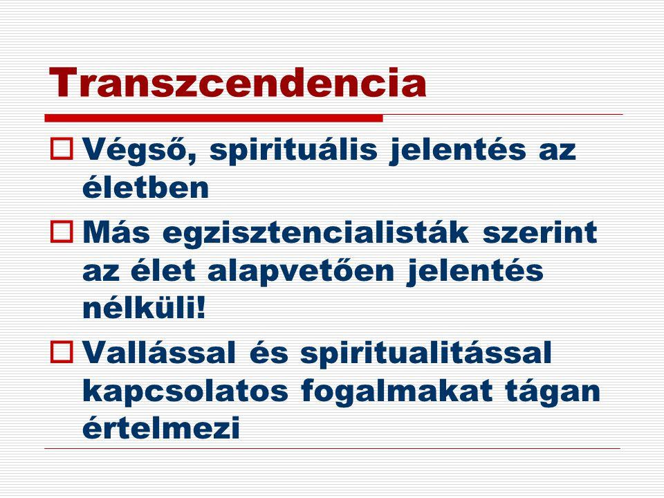 Transzcendencia Végső, spirituális jelentés az életben