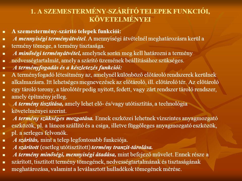 1. A SZEMESTERMÉNY-SZÁRÍTÓ TELEPEK FUNKCIÓI, KÖVETELMÉNYEI