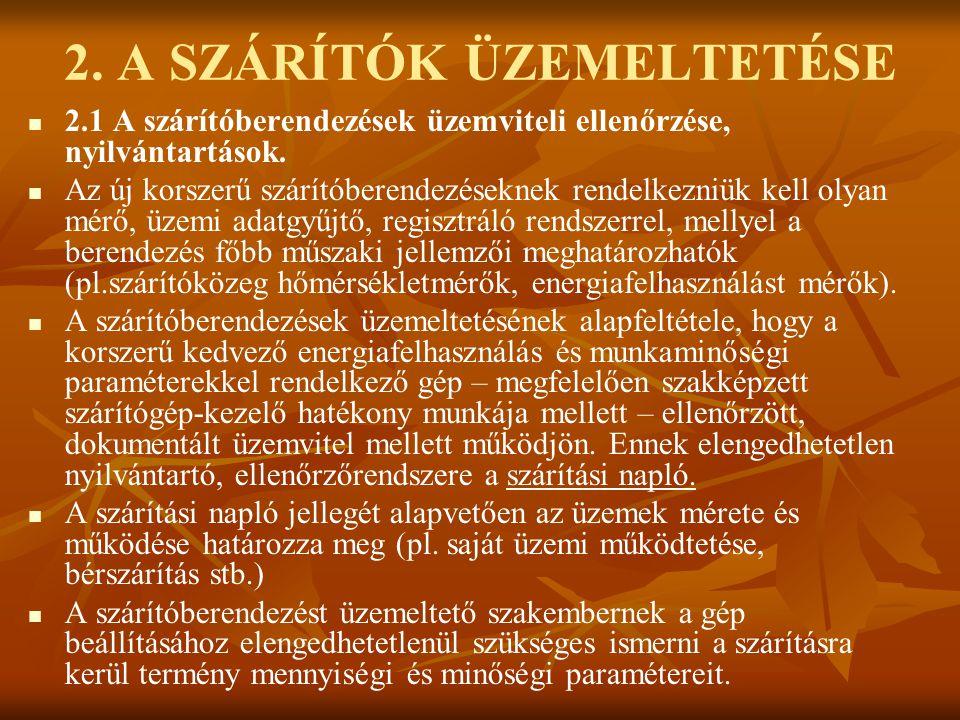 2. A SZÁRÍTÓK ÜZEMELTETÉSE