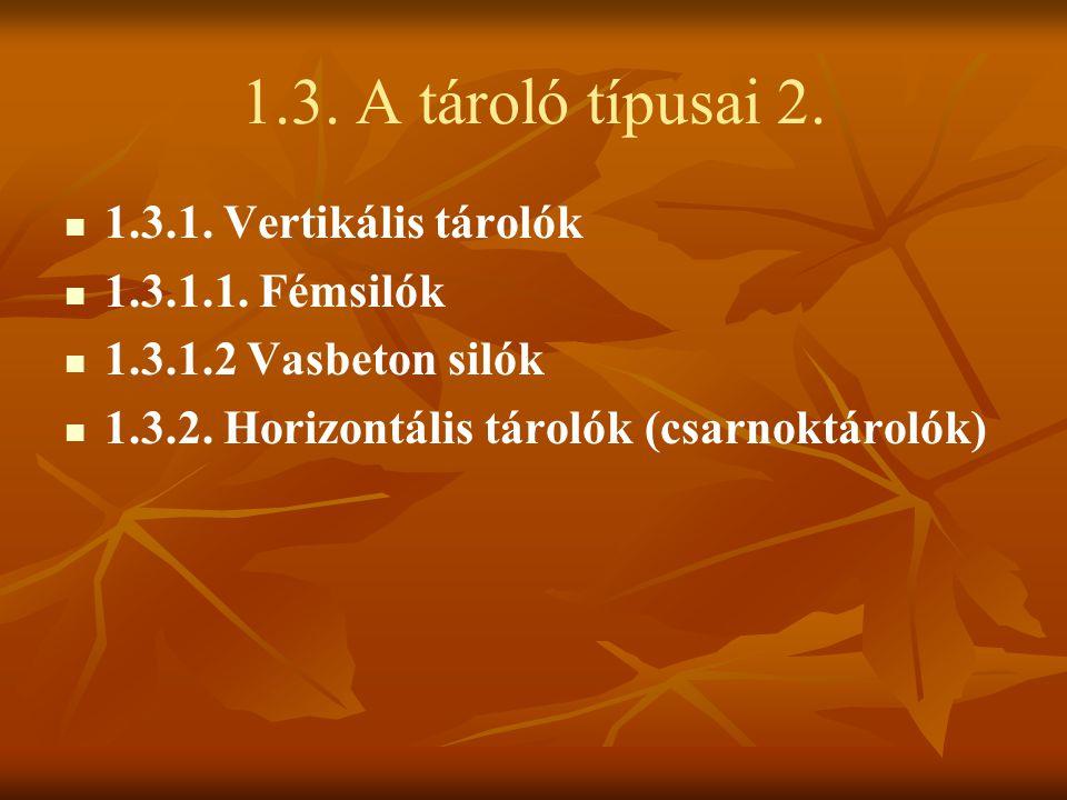 1.3. A tároló típusai 2. 1.3.1. Vertikális tárolók 1.3.1.1. Fémsilók